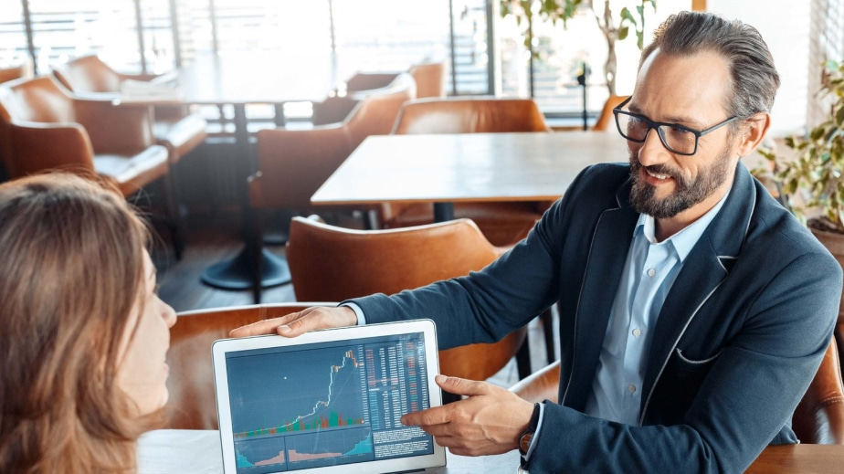 Virtual CFO talking to a client